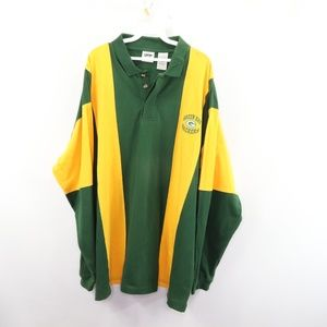 Vintage Green Bay Packers Striped Rugby Polo Shirt